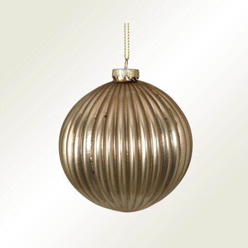 Μπάλα γυάλινη χρυσή ριγέ, διαμέτρου 8cm