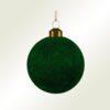 Μπάλα γυάλινη πράσινη βελουτέ, διαμέτρου 8cm