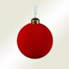 Μπάλα γυάλινη κόκκινη βελουτέ, διαμέτρου 8cm