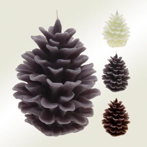 Κερί κουκουνάρι σε τρία χρώματα, ύψους 16cm