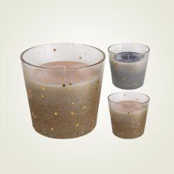 Κερί ασημί ή χρυσό γκλίτερ, σε γυάλινο μπωλ, ύψους 11cm