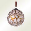 Μπάλα γυάλινη κρακελέ, εκρού - χάλκινη, διαμέτρου 8cm