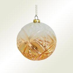 Μπάλα γυάλινη λευκή - χρυσή, διαμέτρου 8cm