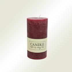 Κερί κορμός σαγρέ μπορντώ, ύψους 13cm