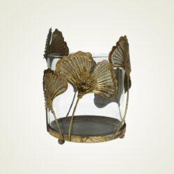 Κηροπήγιο γυάλινο με μεταλλικά φύλλα Ginkgo, ύψους 17cm