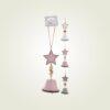 Μεταλλικό στολίδι με αστέρια και καμπανίτσες, ύψους 25cm