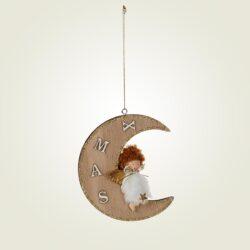 Ξύλινο φεγγάρι με παιδάκι 12.5cm