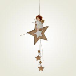 Ξύλινο αστέρι Xmas με παιδάκι 12.5cm